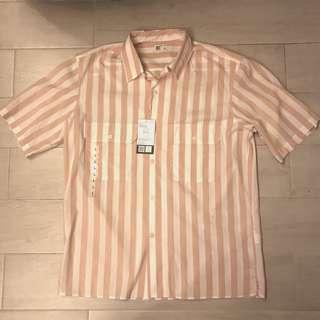 New Uniqlo UUUU Open Collar Striped oversize Shirt size L