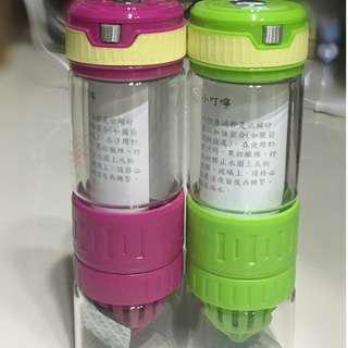 《鮮榨情侶瓶》檸檬杯 果汁杯 果汁瓶 鮮榨 現榨 水果茶 檸檬榨汁瓶 水壺 水杯