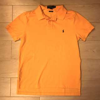 90% new Ralph Lauren Polo Shirt Yellow /Purple Logo