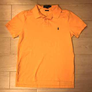 90% new Ralph Lauren Polo Shirt Yellow /Purple Logo