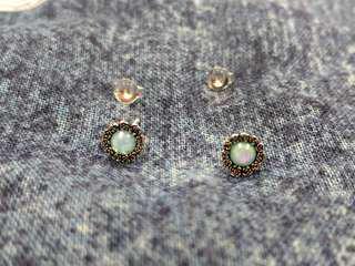 🈹925純銀mint opal花形復古耳環