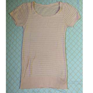 Peach pink long sweater stretchable top
