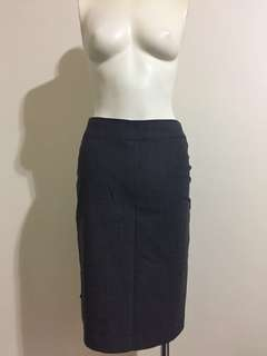 Events Pencil Suit Skirt Grey Pleat Wool
