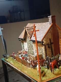 Lighted Village House scene with horse, cows, dogs & goat