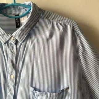 📦(postage inc) H&M Divided Stripe Blouse Shirt