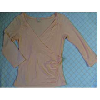 MNG Overlapped Cinched Waist peach top