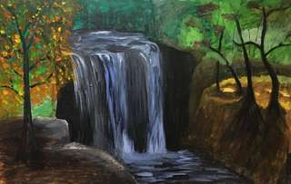 Acrylic painting of a waterfall in the forest