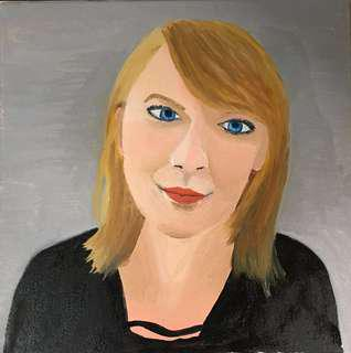 Oil painting of an office lady