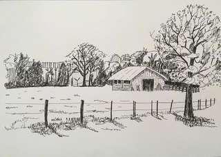 Pen and ink drawing of a grassland barn