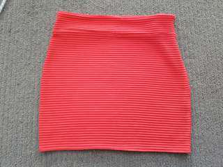 Coral Red Mini Skirt