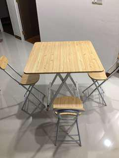 Wooden foldable dining table with 4 foldable chair metal leg