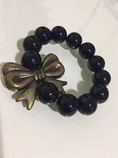 Black Beaded Gold Bow Bracelet Plastic Stretch