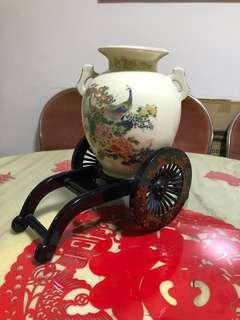 Japan Made Glazed Porcelain Peacock Vase
