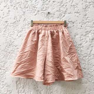 Salmon Pink Stretchable Satin High Waisted Shorts