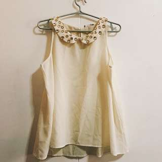 ✨REPRICED Gem-ed Peter pan collar sleeveless top