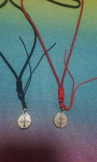 Stainless Steel St Benedict Amulet pendant with nylon necklace