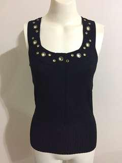 Events Black Knit Top Gold Bronze Rings Ribbed Sleeveless