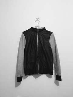 Grey Hooded Fake Leather Jacket
