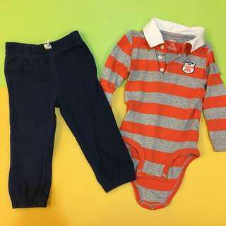 (二手極新出清)美國官網購入 正版Carter's 卡特 薄長袖包屁衣+長褲-18m