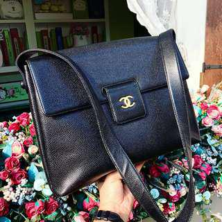 Authentic Chanel Caviar Black Satchel with 24k Gold Hardware