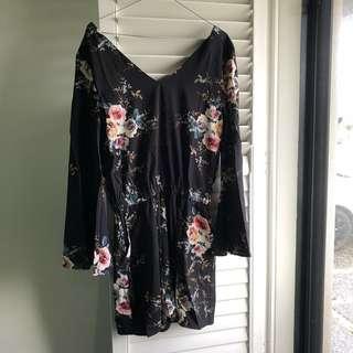 Pink diamond Size S black floral playsuit