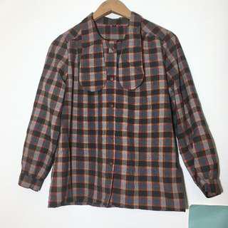 🚚 日本製 古著格紋長袖薄襯衫 學院風