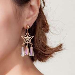 🚚 雙層星星水晶串耳夾