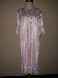 Baju tidur wanita dalaman + luaran warna baby pink