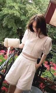 New white crochet top and bottom set S
