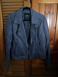 Brand New Grey Leather Bikers Jacket