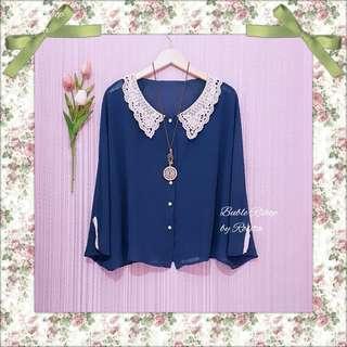 Batwing Tosca atasan blouse wanita oversize bigsize kelelawar kerah rajut putih bahan siffon biru tosca baju bekas preloved pribadi second secondhand baju bekas berkualitas