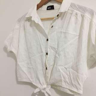 white button tie up crop