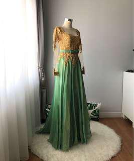 DRESS PESTA / DRESS KEBAYA gold green