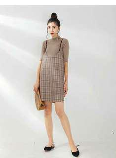 LAMMA Maternity Checkered Dress Set