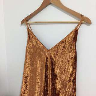gold caramel tan crushed velvet pattern dress