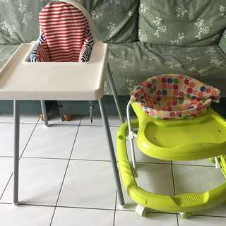 ikea baby chair and sweet cherry walker