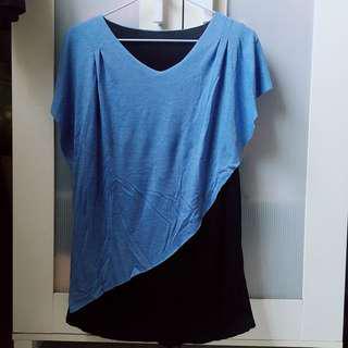 🚚 藍色無袖長版上衣
