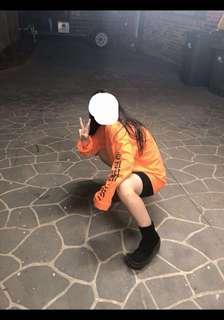Oversized orange tee/ dress