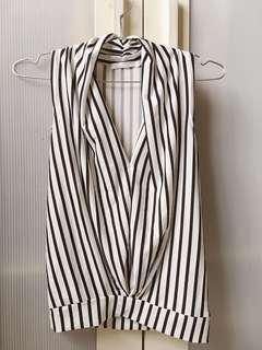🚚 優雅條紋無袖罩衫