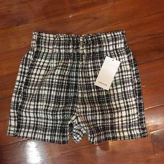 Zara bottom tweed shorts black white chanel sytle