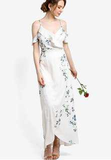 bridesmaid printed cold shoulder maxi dress zalora