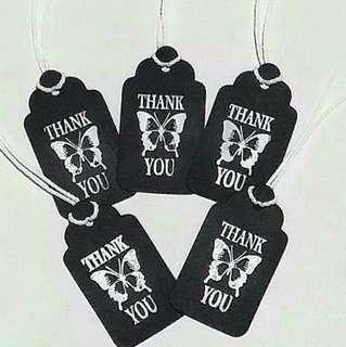 Free NM: 5pcs Handmade Embossed Black Thank You Tags / Book Mark (Medium)