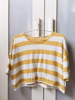🚚 針織芥末黃短版上衣