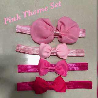 <Free Normal Postage >Pink Theme Baby Girl Headband Set