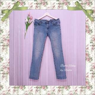 Celana Skinny Jeans Denim Dashed Washed Blue sembur Celana Bawahan Pants Wanita Long Pants Baju Bekas Preloved Second Pribadi Preloved Berkualitas