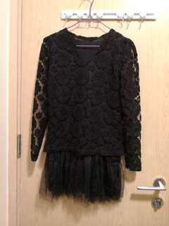全新黑色喱士拼紗連身裙
