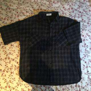 navy blue button up plaid checkered top shirt blouse