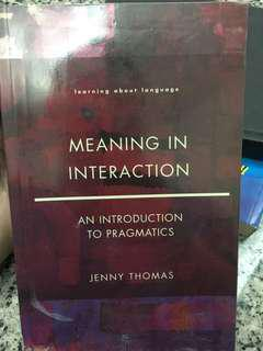 Meaning in Interaction (by Jenny Thomas)