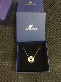 Swarovski 施華洛世奇 水鑽 玫瑰金色 項鍊 雙圓環 鏤空浮動
