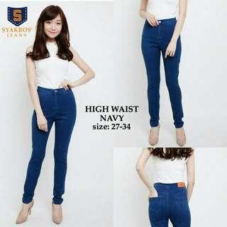 BARU! Dijual karena salah size! Navy Highwaist Jeans